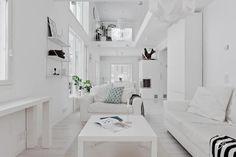 Home interior design with a pure white palette