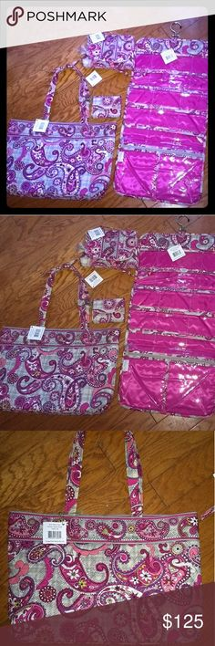 Vera Bradley Paisley Meet Plaid matching set NWT never use. This pattern is retired. This set includes an East West Tote, keep it up organiser, essential cosmetic & supper smart wristlet.  Perfect for traveling or daily use Vera Bradley Bags