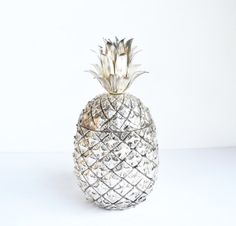Vintage Silver Pineapple Ice Bucket Anana Italia Ice Bucket Mauro Manetti Mid Century Hollywood Glam Barware Pina Colada Ice Chest | #pineapple