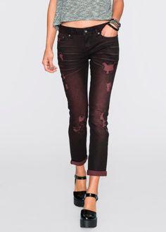 Jeans, RAINBOW, svart/röd denim