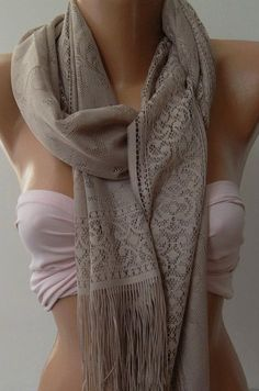 Stone Color   Elegance  Shawl / Scarf with Lacy Edge