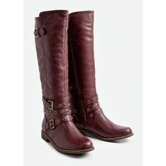 Designer Clothes, Shoes & Bags for Women Red Knee High Boots, Knee High Platform Boots, Red Platform, Flat Boots, Red Flats, Black Knees, Buckle Boots, Leather Boots, Riding Boots