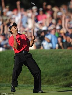 Tiger Woods roars on his way to winning the 2008 US Open at Torrey Pines.