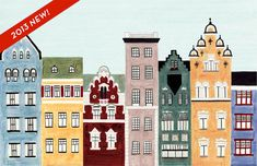 Scandinavian Architecture, Helsinki, Finland, Illustration Fine Art Print of Colorful Buildings and Row Houses for Wall and Home Decor via Etsy