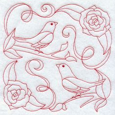 9mm embroidery | Bluebirds and Blossoms (Redwork)