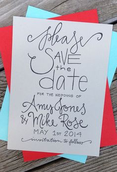 A colorful, handmade save-the-date card from @greysnailpress | Brides.com