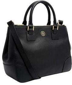 40e46026e Tory Burch Robinson Double Zip Multi Handbag Black Vibrant Saffiano Leather  Tote 25% off retail
