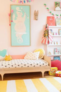 Yellow and white striped rug for children's room