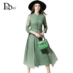 f18dcfa2d356f2 Find More Dresses Information about Fashion Arrival Retro Green cheongsam  Dress For Women Chinese Style Mandarin