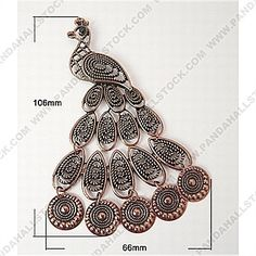 günstige Metal Alloy Pendants, Lead Free & Nickel Free, Red Copper Color, Größe: Ca. 66mm Breit, 106mm Lang, 4mm Dick, Loch: 2mm-Pandahallstock.com