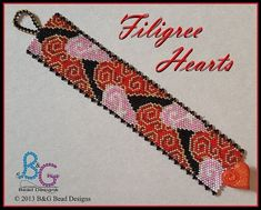 FILIGREE HEARTS Peyote Cuff Bracelet Pattern Regal and delicate this graceful heart cuff motif will accent you wrist with the timeless beauty of its Victorian inspiration. Stitched in Even-count peyote, this beautiful cuff bracelet is perfect for your special Valentine. ------------------- SPECIFICATION: • Pattern designed using Miyuki Delica beads size 11 • Length: 6.63 in (16.60 cm) • Width: 1.25 in (3.20 cm) • Colors: 7 • Technique: Even-count one-drop peyote • Skill Level: Beginner Th...