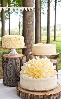 Love the tree stump Cake stands!!!