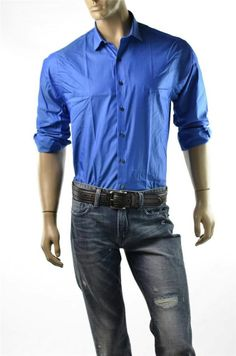 Kenneth Cole Shirt Mens Blue Button Front Wrinkle Free Shirts Sz M 16 32-33 NWT #KennethColeReaction #5Gables for more Great Deals Visit http://ebay.us/GWAxXI