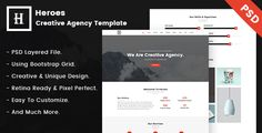 Heroes  Creative One-Page PSD Template. by ahmedbeheiry Heroes is a Digital Agency type Portfolio Template for creative agencies, studios, freelancers, graphic designers, illustrators, p