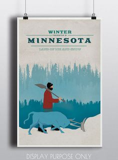 Minnesota Paul Bunyan And Babe Poster Digital Art Print