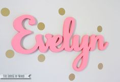 Custom Wood Name Sign - Home decor wall hanging script font for children's bedroom, nursery, playroom, custom made on Etsy, $40.00