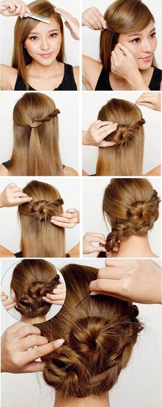 Upgrade your bun to a braided bun! Perfect for a date or a night out with the girls.