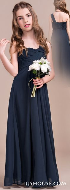 Comfortable, stylish and chic, your junior bridesmaids will look amazing in this long chiffon dress! #jjshouse