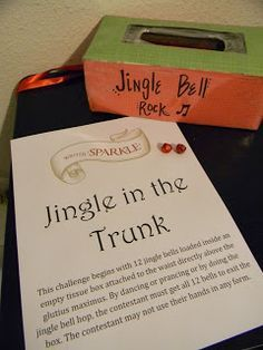 #Christmas minute to win it game. Put 12 jingle bells in an empty kleenex box, strap it to the contestant. They have to jump, hop, dance and/or prance around to get all the bells out in 60 seconds.