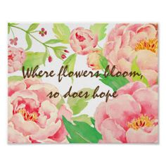 Watercolor Peony Typography Poster