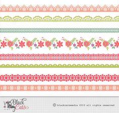 Marcos de flores y encajes cintas Digital de por BlackCatsMedia