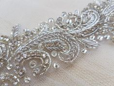 Your place to buy and sell all things handmade : Luxury bridal belt silver wedding belt bridal belt wedding Bead Embroidery Patterns, Hand Embroidery Designs, Beaded Embroidery, Embellished Belt, Bridal Sash Belt, Crystal Belt, Lace Bracelet, Wedding Belts, Couture