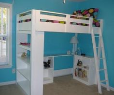 I want to make this!  DIY Furniture Plan from Ana-White.com  A loft bed that works with an entire system of plans to get your teen more space and storage in their room. Special thanks to Anne for sharing her photos from this plan.