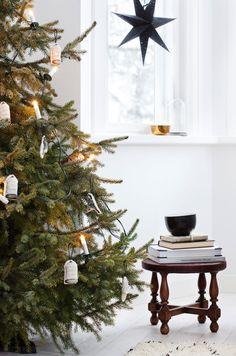 minimal amount of decorations on the Christmas tree