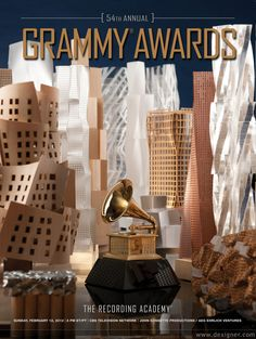 54th Grammy Awards poster - by Frank Gehry