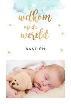 Lief geboortekaartje met newborn foto, watercolor en gouden letters. Chique, lief en bijzonder!