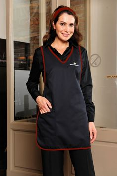 Visually appealing casaque with v-neck, edged by broad piping in contrasting colour, perfect fit due to bust darts. The width is adjustable by press buttons at the waistline. One sewn-on pocket on the right side. Suitable for all areas of  hospitality, catering, service and sales.