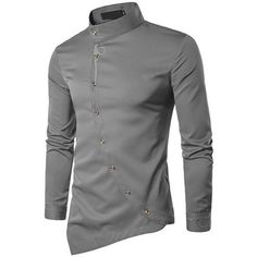 X-Future Men Pleated Long Sleeve Irregular Stand Collared Button up Dress Shirts