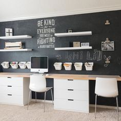 Ikea Hacks, Project Portfolio, Inspiration Ikea, Home Office Cabinets, Blackboard Wall, Home Office Decor, Home Decor, Office Ideas, Woodworking