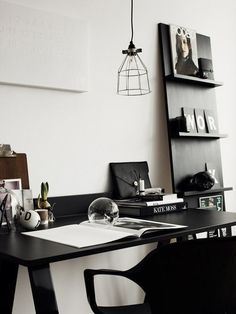 black desk and chair