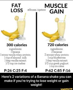 Here's 2 variations of a Banana shake you can make if you're trying to lose weight or gain weight! - Here's 2 variations of a Banana shake you can make if you're trying to lose weight or gain weight! Smoothie Diet, Healthy Smoothies, Healthy Drinks, Healthy Recipes, Yummy Recipes, Healthy Tips, Crockpot Recipes, Vegetarian Recipes, Chicken Recipes