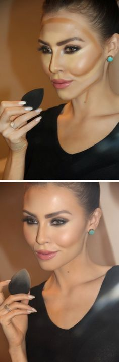 Blending cream contour and highlighted face! - Just apply a little setting powder and blush, bam!
