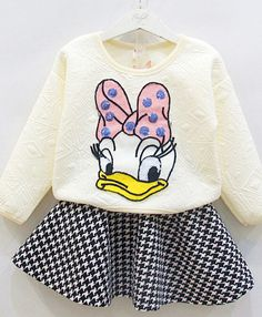 2pcs 2017 Hot 2pcs Cartoon Toddler Baby Girls Kids Donald Duck Tops+Plaid Skirt Party Dress Outfits Long Sleeve 0-3Y Clothes