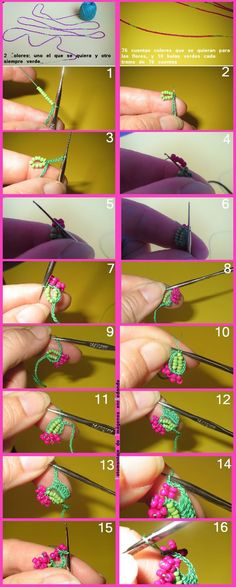 Bead crochet Earrings✴Tutorial✴ part Crochet Video, Form Crochet, Crochet Art, Crochet Crafts, Crochet Flowers, Crochet Stitches, Needle Tatting, Needle Lace, Crochet Designs
