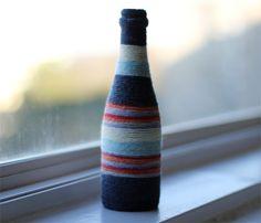 Yarn-Wrapped Bottle Vase