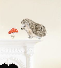 Hedgehog Wall Decal, Fabric Wall Sticker ( Not Vinyl, PVC free ) - A4 on Etsy, $20.00