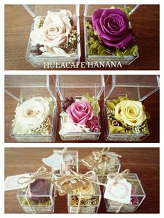 preservedflower gift rose flower design florist hulacafehanana プリザーブドフラワーのプチアレンジ。アクリルケース入り。