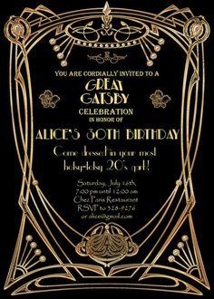 Great Gatsby Style Art Deco Birthday Party Invitation by StudioDMD