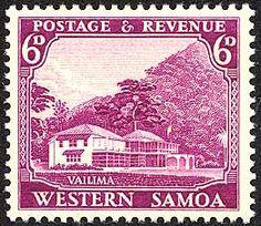 Vailima Stamp: Robert Louis Stevenson on stamp of Samoa 1935