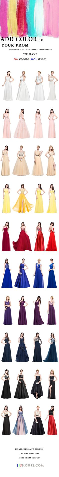 Add Color To Your Prom. Plenty of styles, colors, sizes available at JJsHouse.com. Get ready for this coming prom season! Sparkle & Shine with our Unique dresses, new styles added every week!  #JJsHouse