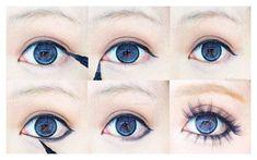 Make up cosplay eyes Gyaru Makeup, Kawaii Makeup, Asian Makeup, Korean Makeup, Cute Makeup, Beauty Makeup, Soft Makeup, Maquillaje Gyaru, Makeup Inspo
