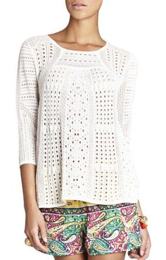 Light and summery and a cute look with shorts or skinny jeans - pointelle pullover