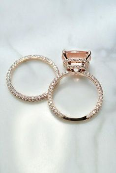 Morganite engagement ring rose gold Unique diamond Cluster ring Vintage wedding Mini stone Bridal set Jewelry Anniversary Gift for women - Fine Jewelry Ideas Classic Engagement Rings, Platinum Engagement Rings, Morganite Engagement Rings, Engagement Sets, Engagement Ring Settings, Pink Wedding Rings, Wedding Bands, Wedding Set, Gold Wedding