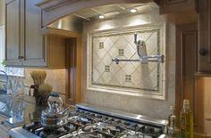 Limestone Backsplash Tiles with Glass Accents