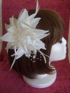 White Ivory coloured fabric flower fascinator by GlamorousLadies Wedding Party Hair, Wedding Fascinators, Bridal Hair, Large Flowers, Fabric Flowers, Navy Blue Fascinator, Facinator Hats, Hair Decorations, Bride Hairstyles