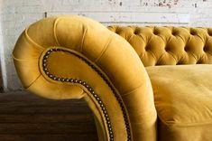 Velvet Wingback Chair, Velvet Chesterfield Sofa, Foam Cushions, Cushions On Sofa, Teal Chair, Big Sofas, Timeless Design, Mustard, Upholstery